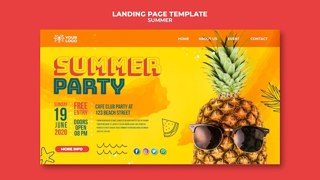 Affiche d'ananas d'été avec des lunettes