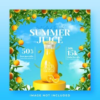 Affiche ou bannière du menu des boissons d'été sur les réseaux sociaux