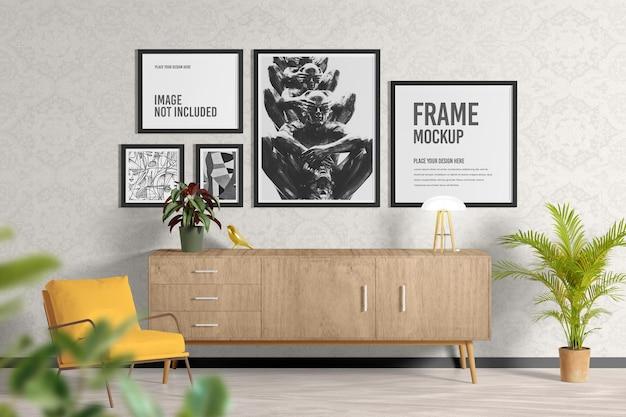 Affiche ou cadre dans la maquette du salon