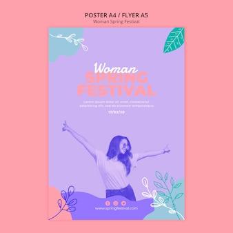 Affiche avec concept festival femme printemps