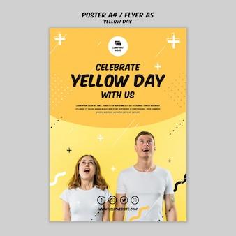 Affiche avec concept de jour jaune