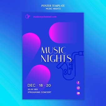 Affiche dégradée verticale pour le festival des nuits musicales