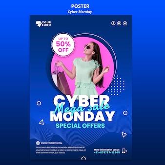Affiche Du Cyber Monday Avec Photo Psd gratuit