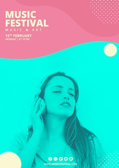 Affiche du festival de musique avec des formes abstraites