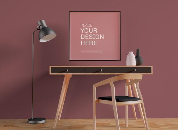 Affiche encadrée sur la maquette de mur de bureau