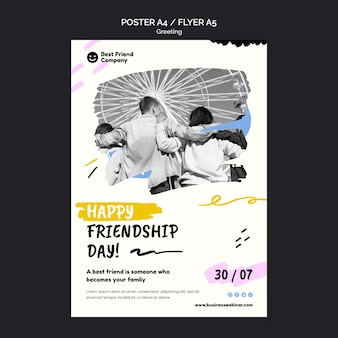 Affiche de la fête de l'amitié heureuse