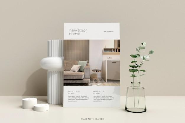 Affiche de flyer minimaliste propre avec maquette de feuilles