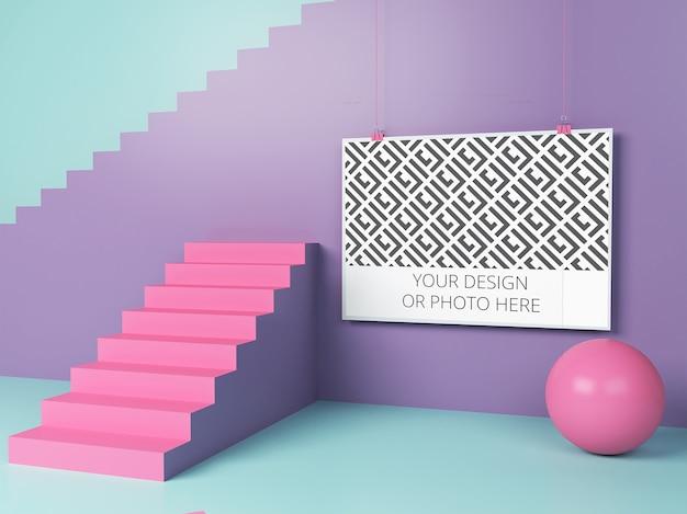 Affiche horizontale dans une maquette de scène géométrique