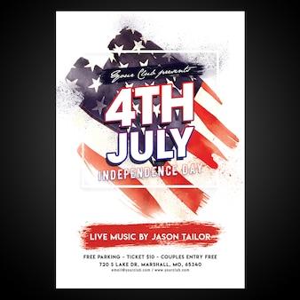 Affiche imprimée du 4 juillet de cmyk prête à l'emploi avec objets modifiables