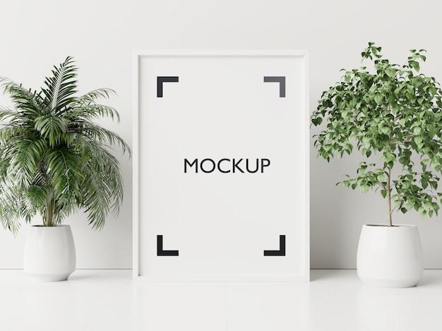 Affiche intérieure maquette avec des pots de plantes