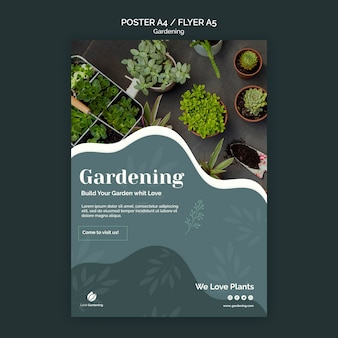 Affiche avec jardinage