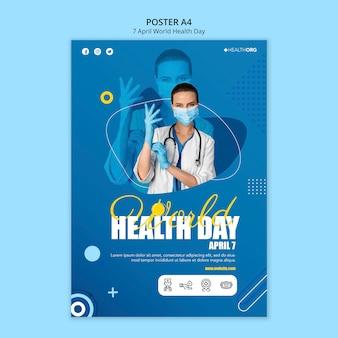 Affiche De La Journée Mondiale De La Santé Avec Photo Psd gratuit