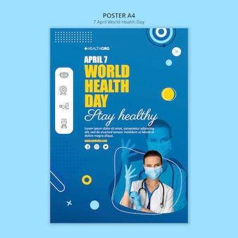 Affiche de la journée mondiale de la santé avec photo