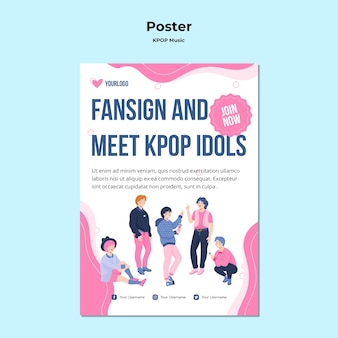 Affiche k-pop avec illustrations