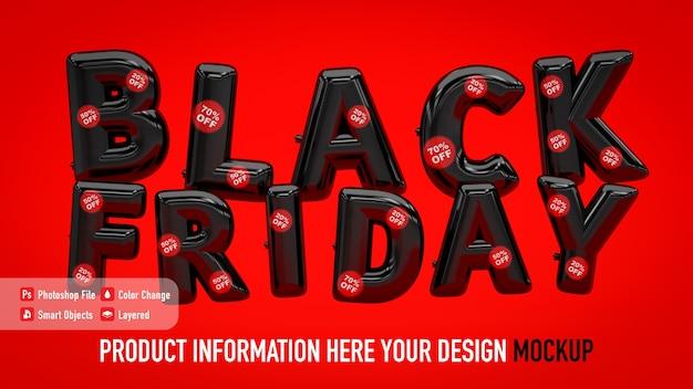 Affiche de maquette de ballons black friday