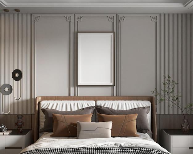 Affiche de maquette dans une chambre minimaliste moderne