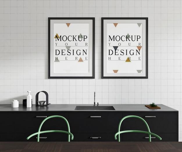 Affiche de maquette dans la cuisine ouverte moderne