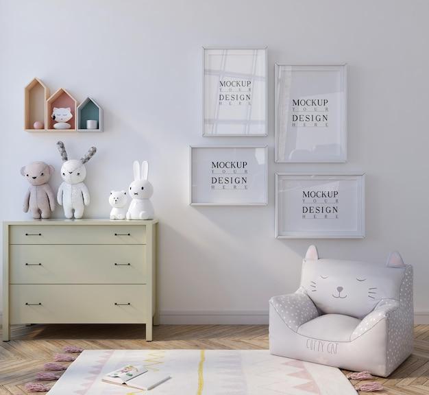 Affiche de maquette dans la jolie chambre des enfants blancs