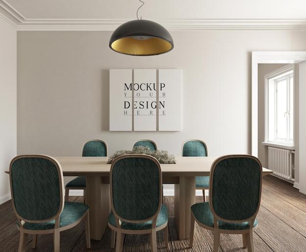 Affiche de maquette dans la salle à manger photoréaliste classique moderne