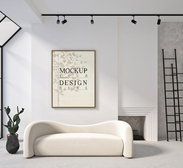 Affiche de maquette dans le salon contemporain moderne avec canapé