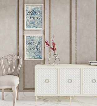 Affiche de maquette dans un salon moderne avec armoire et chaise