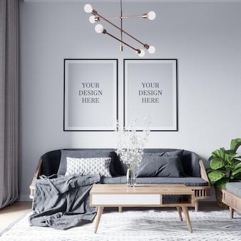 Affiche maquette et maquette murale fond de salon scandinave intérieur