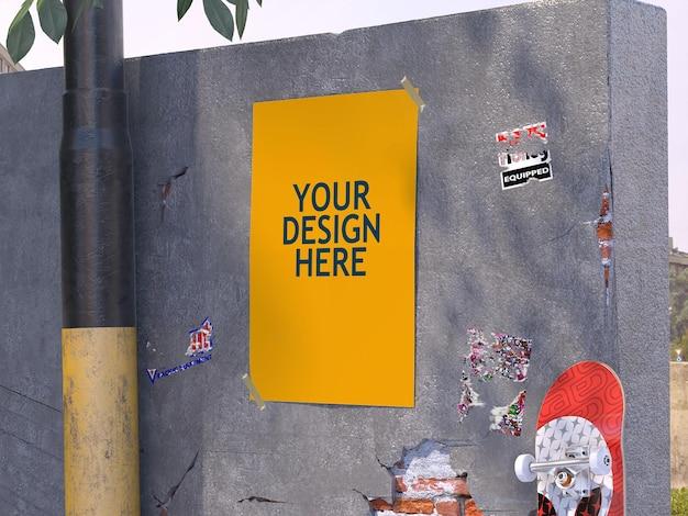 Affiche Sur Maquette De Mur En Béton PSD Premium