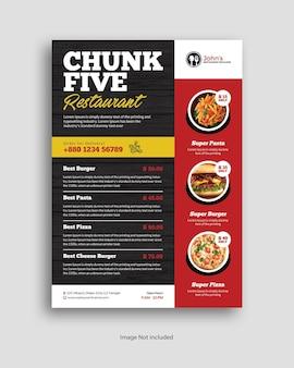 Affiche de menu de nourriture de restaurant