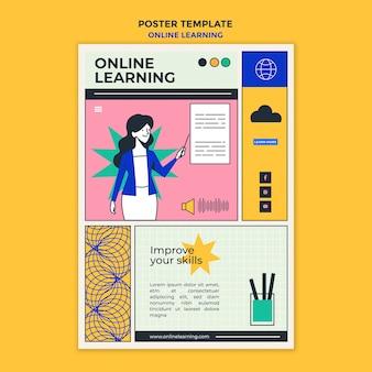 Affiche de modèle d'annonce d'apprentissage en ligne