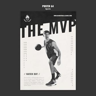 Affiche de modèle d'annonce de basket-ball