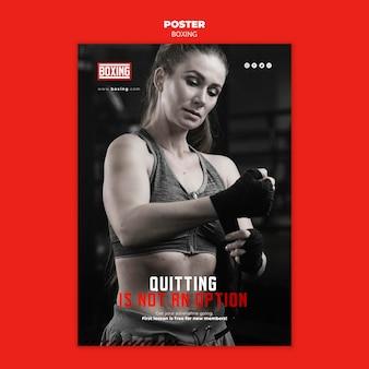 Affiche de modèle d'annonce de boxe