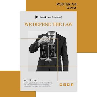 Affiche de modèle d'annonce de cabinet d'avocats