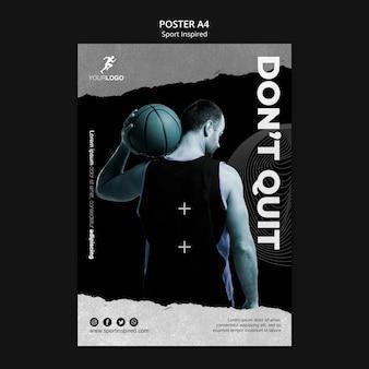Affiche de modèle d'annonce de formation de basket-ball