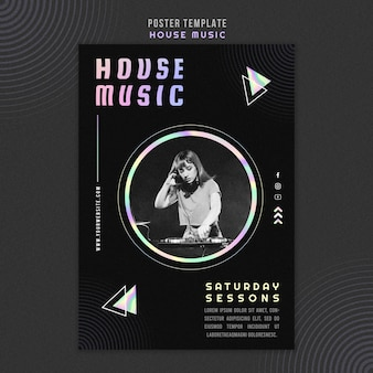 Affiche de modèle d'annonce de musique house