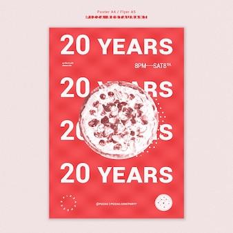 Affiche de modèle d'annonce de restaurant de pizza