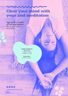 Affiche de modèle d'annonce de yoga