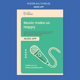 Affiche de modèle d'application de musique