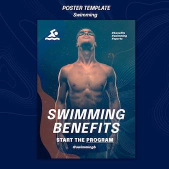 Affiche de modèle d'avantages de natation