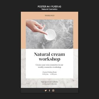 Affiche de modèle de cosmétiques naturels