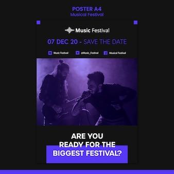 Affiche de modèle de festival de musique