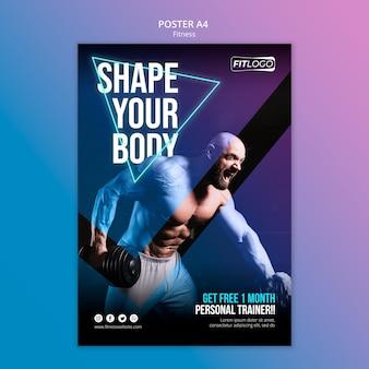 Affiche de modèle de formateur de fitness