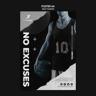Affiche de modèle de formation de basket-ball