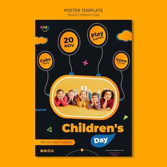 Affiche de modèle de jour des enfants