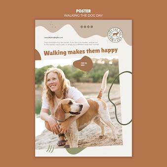 Affiche de modèle de jour de marche du chien