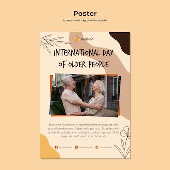 Affiche de modèle de journée internationale des personnes âgées