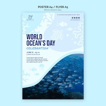 Affiche de modèle de la journée mondiale de l'océan