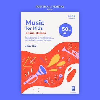 Affiche de modèle de plate-forme de musique pour enfants
