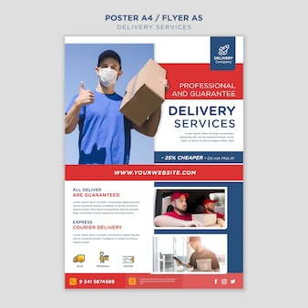 Affiche de modèle de services de livraison