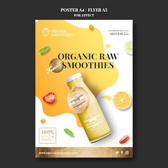 Affiche de modèle de smoothies bio