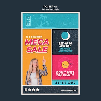 Affiche de modèle de vente d'été